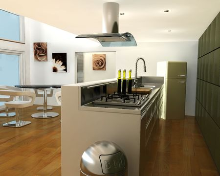 contemporary kitchen: 3D render of a contemporary kitchen Stock Photo