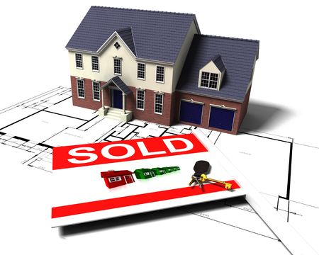 3D render of a house on blue prints with sold sign and keys photo