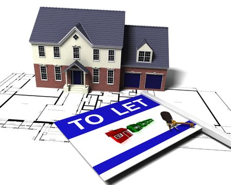 3D render of a house on blueprints with to let sign and bunch of keys photo
