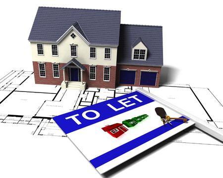to let: 3D rendering di una casa a schemi a lasciare segno e mazzo di chiavi