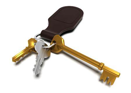 keyring: 3D render of keys Stock Photo