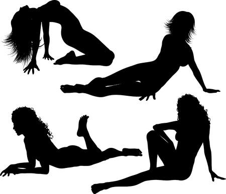 siluetas de mujeres: Sexy femenina plantea - Vector
