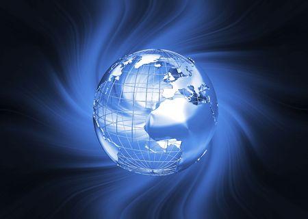 wireframe globe: 3D render of a wireframe globe on fiery background