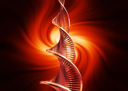 raytrace: 3D render of DNA strands on abstract background