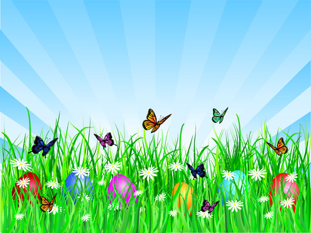 Easter eggs in grass - vector Stock Vector - 2704735