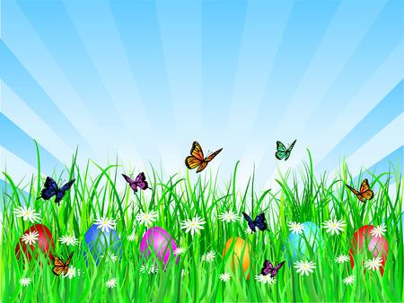 Easter eggs in grass - vector Stock Vector - 2704735