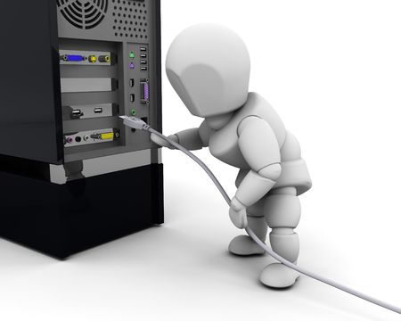 plugging: 3D render of a person plugging in a computer cable