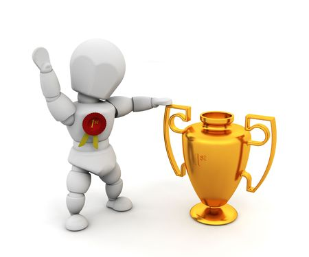 3D render of a person holding a first prize trophy Stock Photo - 2736452
