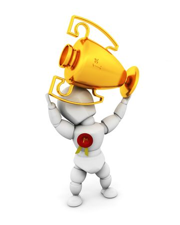 3D render of a person holding a first prize trophy Stock Photo - 2736444