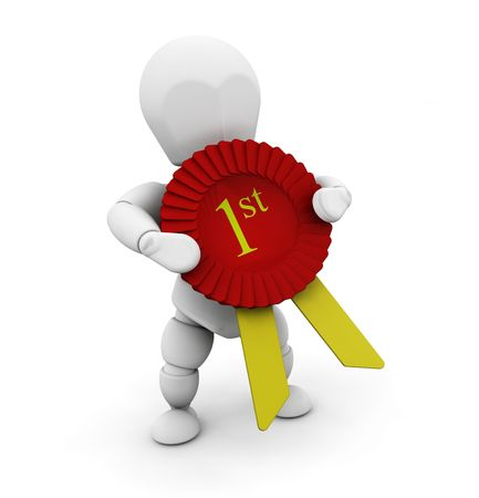 3D render of a person holding a first prize rosette Stock Photo - 2736446