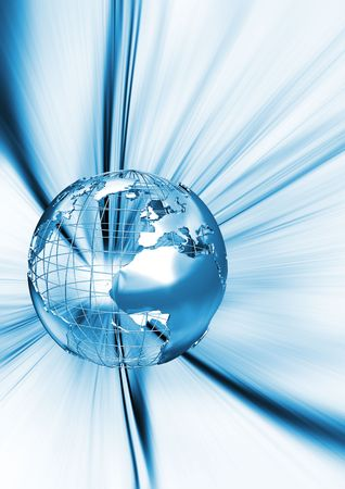 wireframe globe: 3D render of wireframe globe on abstract background Stock Photo