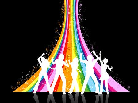 Schattenbilder der Leute, die auf Regenbogenhintergrund tanzen