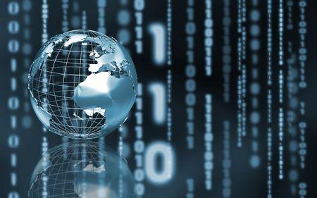 wireframe globe: Wireframe globe on abstract binary code background