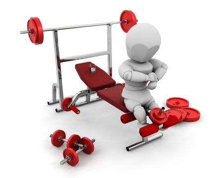 3D render of someone with gym equipment Stock Photo - 2812669