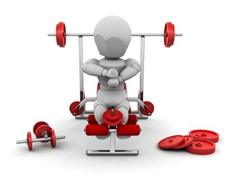 3D render of someone with gym equipment Stock Photo - 2812643