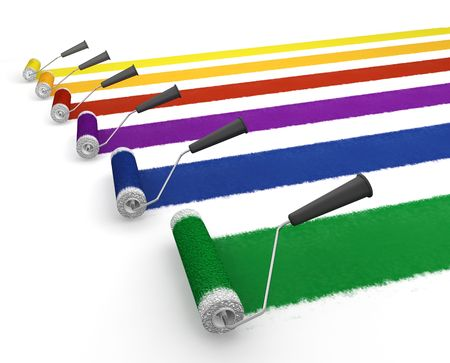 rollers: 3D render of paint rollers Stock Photo