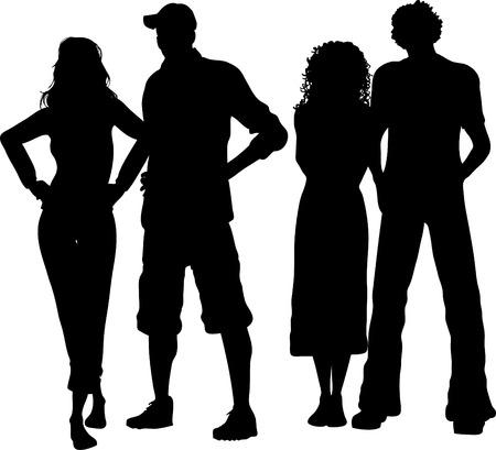jovenes en grupo: Grupo de amigos - vector Vectores