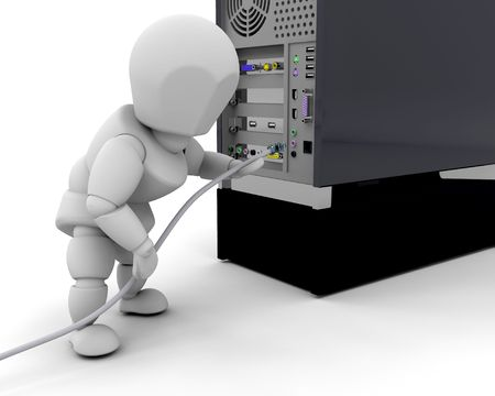plugging: 3D render of someone plugging in a cable in a computer Stock Photo
