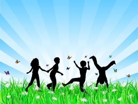 enfants qui jouent: Des enfants jouent - Vector