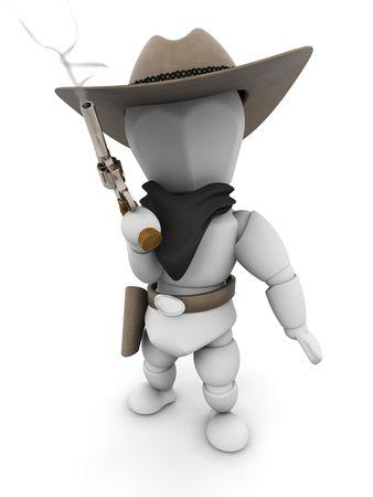 stickup: 3D render of a bandit with a smoking gun