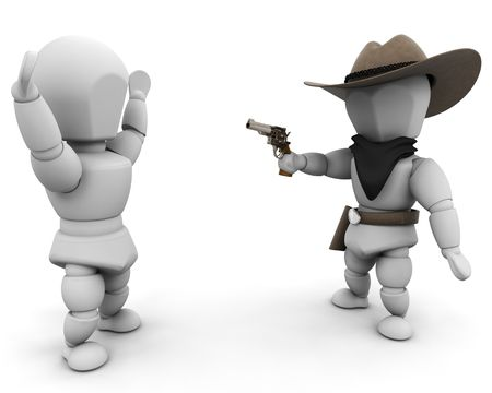 stickup: 3D render of a bandit pointing a gun at someone
