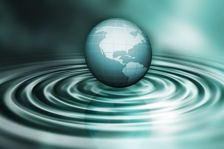 3D render of a globe on water ripples  photo