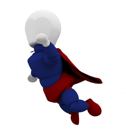 caped: 3D render of caped superhero