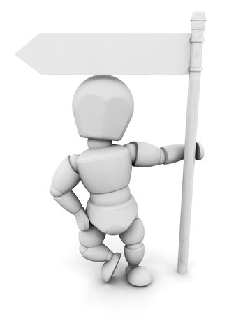 deciding: 3D render of someone with a blank signpost