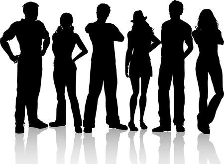 group of objects: Silhouetten van een groep van casual mensen Stock Illustratie