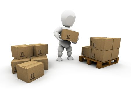 3D render of someone stacking boxes Stock Photo - 3033768