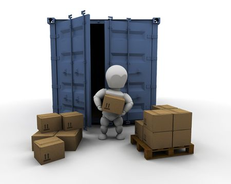 container port: 3D render of someone unloading boxes from a freight container