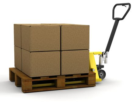 3D render of a pallet truck stacked with boxes Stock Photo