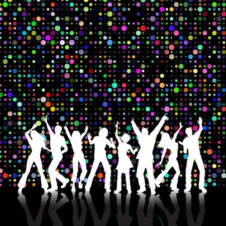 Retro estilo colorido de fondo con la gente bailando