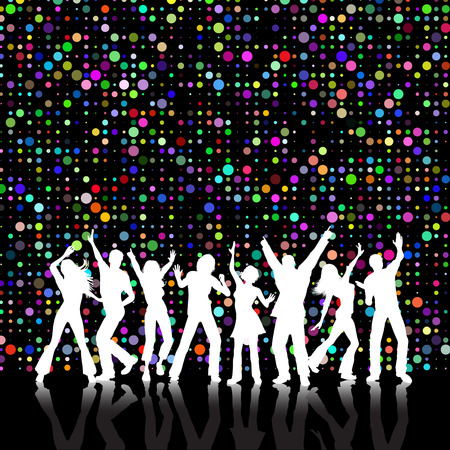 Retro styled colourful background with people dancing Vector