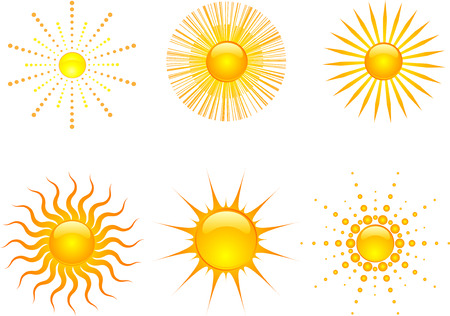 suns: Various styles of sun icons Illustration