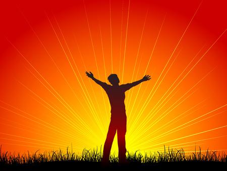 Silhouette di un uomo con le sue braccia aperte nel culto