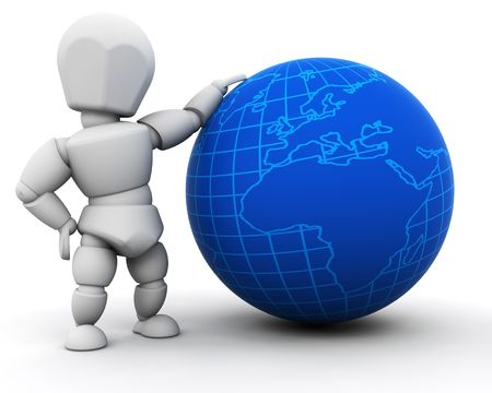 3D render of someone with a globe photo