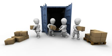 dispatch: 3D render of a team of people unloading boxes Stock Photo