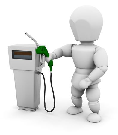 unleaded: 3D render of someone with a fuel pump Stock Photo