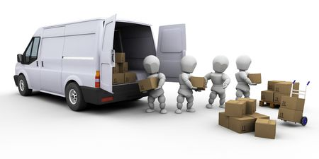 delivery box: 3D render of a team of people unloading a van