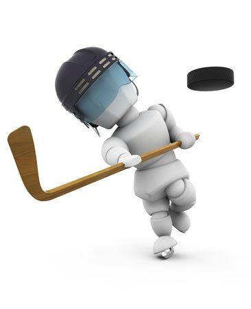 visor: 3D render of an ice hockey player