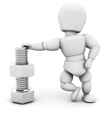 man nuts: 3D render of someone with a nut and bolt