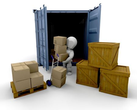 export: 3D render of someone unloading boxes from a freight container