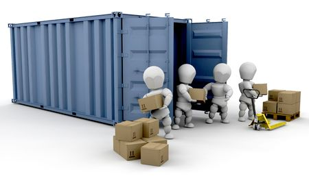 dispatch: 3D render of people unloading boxes from a freight container