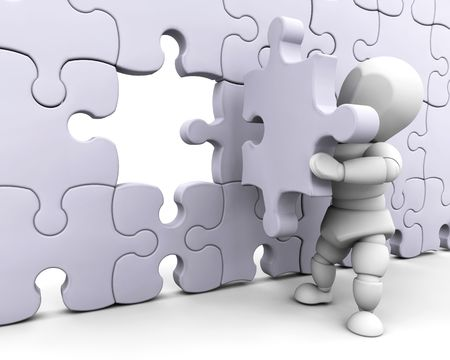 metaphorical: 3D render of someone fitting a final piece of a jigsaw