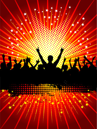 Silhouette of a crowd on a grunge background Vector