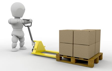 3D render of someone with a pallet truck Stock Photo - 3238205