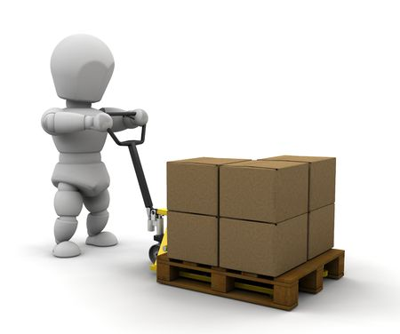 sacktruck: 3D render of someone with a pallet truck Stock Photo