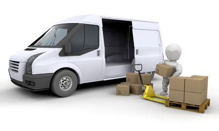 moving van: 3D render of someone unloading a van