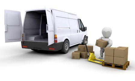 unloading: 3D render of someone unloading a van